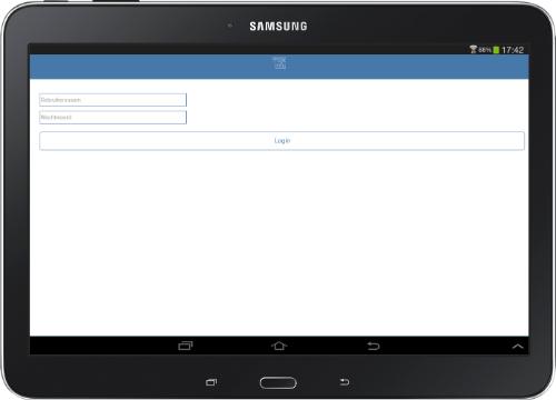 Mox-info Android App inlogscherm